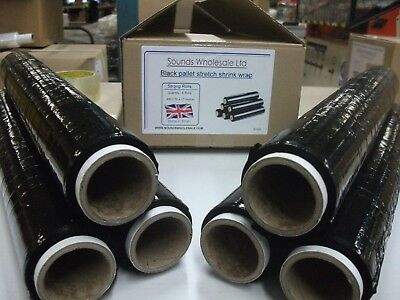 6 X STRONG ROLLS BLACK PALLET STRETCH SHRINK WRAP CAST 400mm 17 Micron 50 Metres