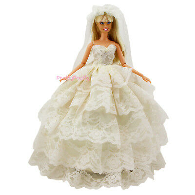Champagne Princess Pretty Dress Wedding Party Gown Clothes For Barbie Doll Gift