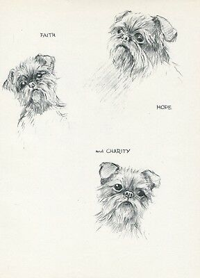 BRUSSELS GRIFFON DOGS FAITH HOPE CHARITY VINTAGE 1930'S ART PRINT by KF BARKER