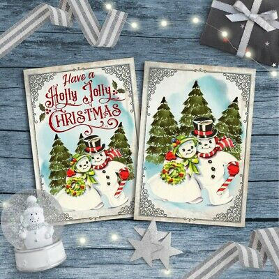 Christmas Toppers For Card Making.Snowman Christmas Card Toppers Retro Xmas Cardmaking Greeting Cards Snowman