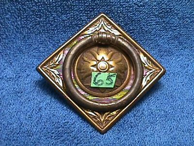 Vintage BRASS Plated Metal ORNATE Art Nouveau SQUARE Drawer BACKPLATE+ PULL (65)