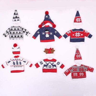 Christmas Jumper Bottle Cover & Hat Festive Fun Knitted Fair Isle Wine Gift 6A