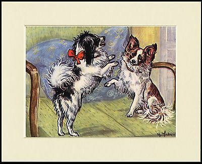 Papillon Two Little Dogs Charming Dog Print Mounted Ready To Frame