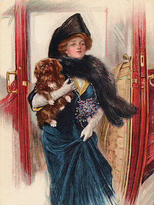 Pekingese Charming Dog Greetings Note Card Glamour Lady With Dog In Her Arms