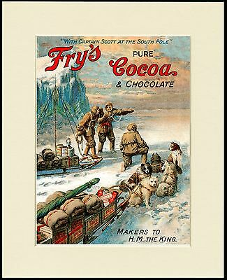 Siberian Husky Sled Dog Artic Expedition Fry's Cocoa Advert Print Ready To Frame