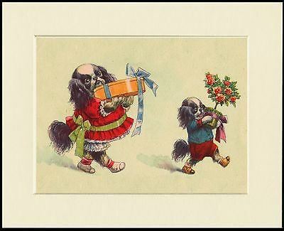 Japanese Chin Little Dogs Carrying Gifts Dog Print Mounted Ready To Frame