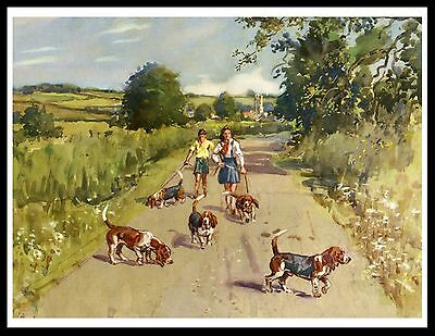 Children Walking Basset Hound Dogs Lovely Vintage Rural Scene Dog Print Poster
