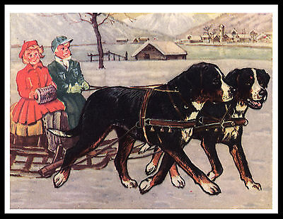 Bernese Mountain Dog Pulling Sleigh Lovely Vintage Style Dog Print Poster