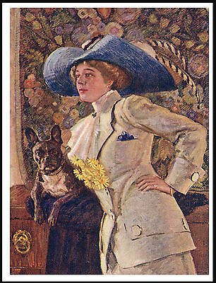 French Bulldog And Lady Wearing A Large Blue Hat Vintage Style Dog Print Poster