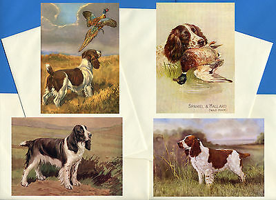 English Springer Spaniel 4 Pack Vintage Style Dog Print Greetings Note Cards #3