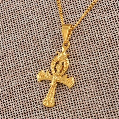 Cross Pendant Necklaces Gold Color Ancient Symbol of Egyptian Amulets African