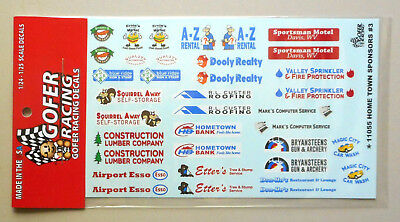 GOFER RACING HOMETOWN SPONSOR DECAL SET #2 FOR 1:24 and 1:25 SCALE MODEL CARS