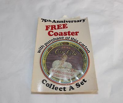 1976 Coca-Cola 75th Anniversary Give Away Coaster Carton Insert Coke