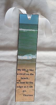 "Inspirational Bookmark ""My life is like a stroll on the beach…"" Handmade NEW"