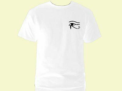 Ancient Egyptian symbols Wadjet Udjat Eye of Ra Horus white 100% cotton t-shirt