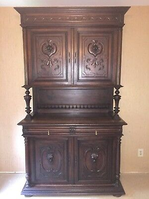 Unique Antique French Hunt Buffet, Server, Cabinet, Sideboard, Carved Doors