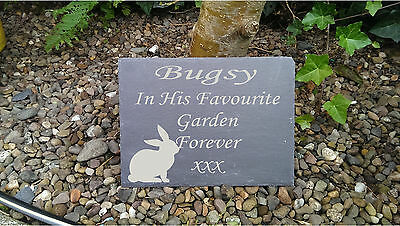 Personalised Any Name Engraved Slate Stone  Pet Memorial  Marker Plaque Rabbit