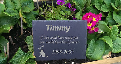 Personalised Engraved Slate Stone  Pet Memorial Grave Marker Plaque Cat f