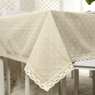 Vintage Tablecover Square Linen Crochet Lace & Embroidery Tablecloth LJ