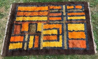 Danish Swedish Rya Rug Vintage Retro 1960S Scandi Mid Century Lot 6
