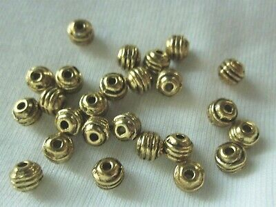50 Antique Gold Coloured 5mm x 5mm Corrugated Spacer Beads #sp1380 Findings