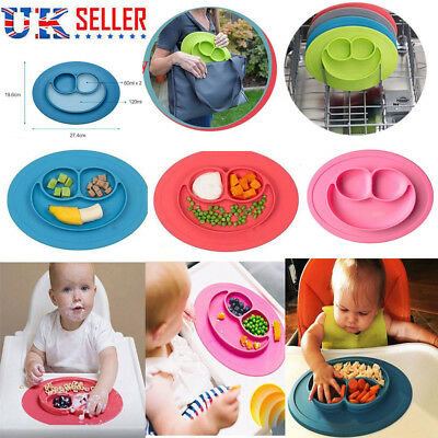Cute Bowl Silicone Plates for Kids Child Baby Suction Table Food Tray Placemat J