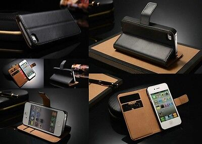 Luxury Genuine Real Leather Flip Case Wallet Cover For Apple Iphone SE 5 /5S