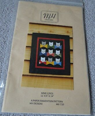 """PATTERN - CATS - NINE LIVES - 12.75"""" x 14"""" - MH Designs - MARY HERSCHLEB -USA"""