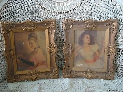Pair Of Shabby Old Pictures In Gorgeous Ornate Frames