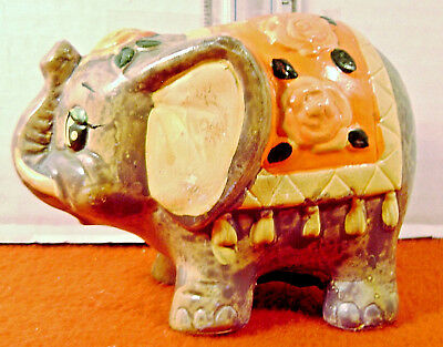 1960's  Holiday Fair Chalkware NEON ELEPHANT BANK  Japan