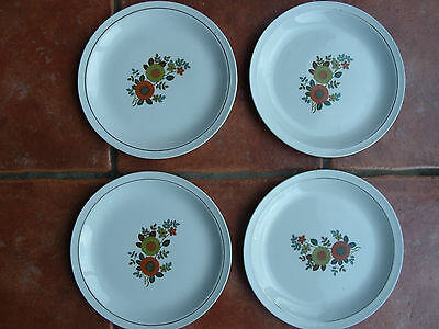4 Vintage Dinner Plates Alfred Meakin Glo-White Ironstone Flowers Retro 1960's