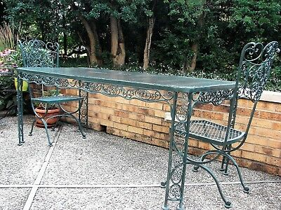 Vintage Woodard Andalusian Pattern Wrought Iron Table and 6 chairs