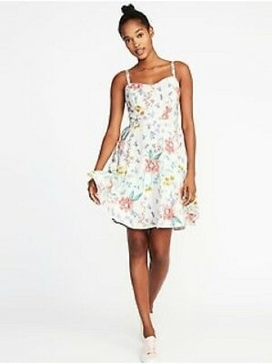 1b84cd3baad OLD NAVY WOMEN S Pink  White floral Cami Fit   Flare Dress Size XL ...