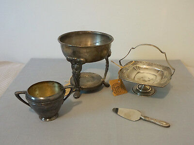 Vintage Silverplate Lot Sugar Bowl Pitcher Stand Basket