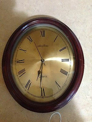 Wood Oval Seth Thomas Wall Clock(Quartz)Made in Germany, Good Working Condition