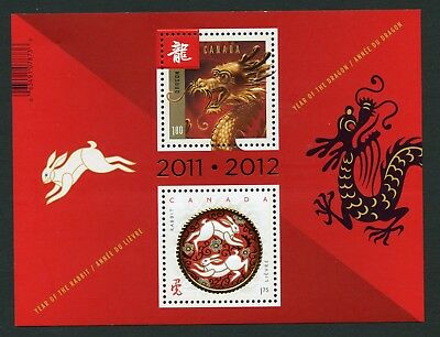 Weeda Canada 2496a VF MNH Transitional Souvenir Sheet, 2012 Lunar New Year CV $7