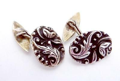Antique Victorian 800 Silver Ornate Rose Cufflinks Signed! 23925