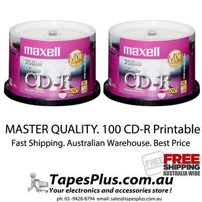 100 x Blank CD -R 52X media Full White Hub Printable CDR Maxell