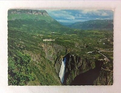 Postcard Norway Voringsfossen Waterfall Ariel View Posted C 1978