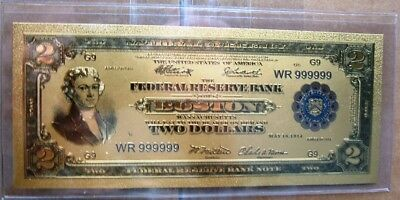 1914 Two Dollar Boston Note Gold Plated. With Battle Ship on Back.