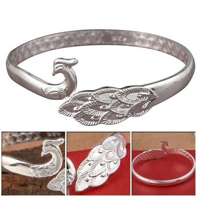 NEW Trendy Jewelry 925 Sterling Silver Peacock design Opening Bracelet for Gifts