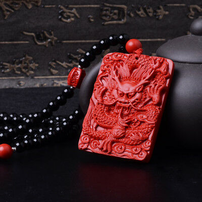 Natural Red Cinnabar Carving Chinese Dragon Loong Pendant 108 Beads Necklace