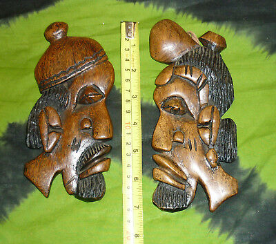 """2x 7"""" AFRICAN Ethnic Tribal Plaques MASK CHIEF FACE STATUE ALTAR HEADS wall art"""