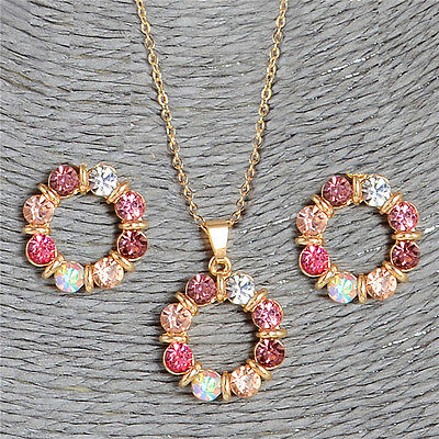 Fashion Women Gold Round Crystal Pendant Jewelry Set Lady Necklace Earrings Gift