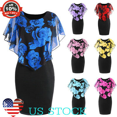 Women Floral Slim Bodycon Capelet Dress Cocktail Evening Party Fashion Hot Dress