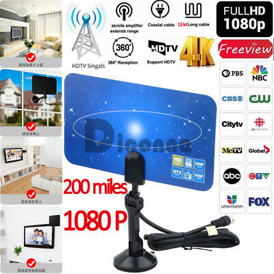 USA Antenna TV Digital HD 200 Mile Range Skywire TV Indoor 1080P Coax Cable