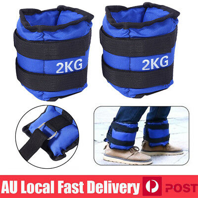 4KG 2x 2kg Ankle Weights Sport GYM Exercise Fitness Running Training Leg Sandbag