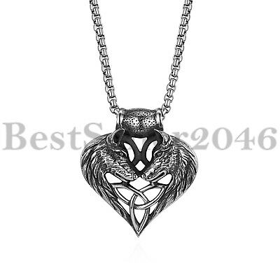 Mens Wolf Head Heart Celtic Knot Pendant Biker Stainless Steel Necklace 22""