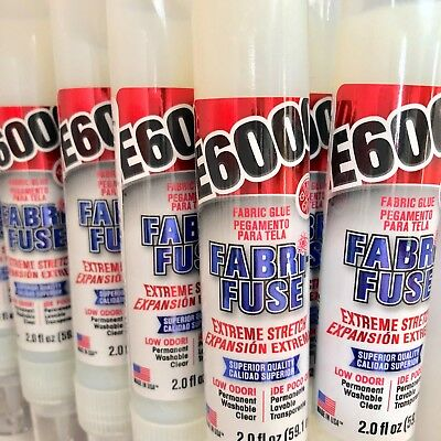 E6000 Fabri-Fuse fabric glue adhesive dries clear apply trims lace crystals gems