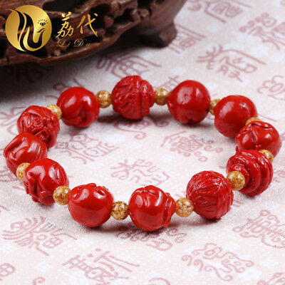 Natural Red Cinnabar Carving Lacquer Chinese Zodiac Statue Bracelet BODICI-HOUSE